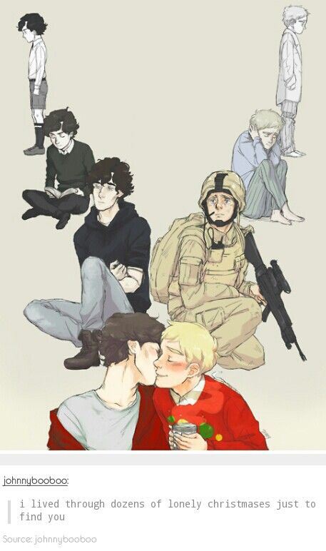 Johnlock ♥ ~ohhh shit this is cute. what's the background of john in the second bit? listening to a fight or?