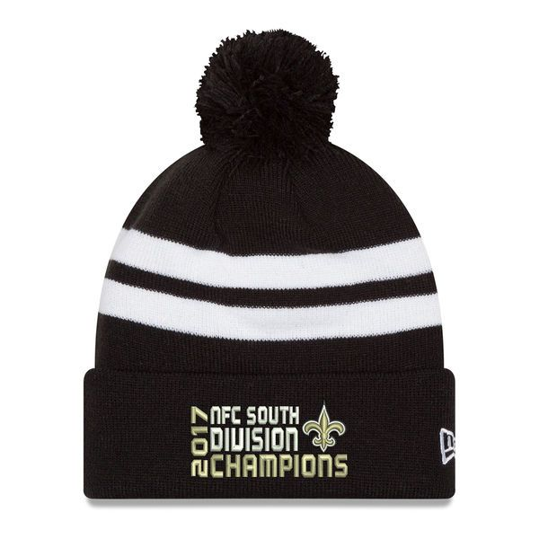Men's New Era Black New Orleans Saints 2017 NFC South Division Champions Top Stripe Cuffed Knit Hat