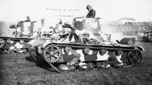 "Developed in the early 1930s, the Vickers Commercial 6-Ton Tank was not adopted by the British Army, but was very successful for Vickers as an ""export tank"", purchased by a number of foreign countries and influential on several subsequent designs. This 1934 photo shows Vickers 6-Tons in Polish service."