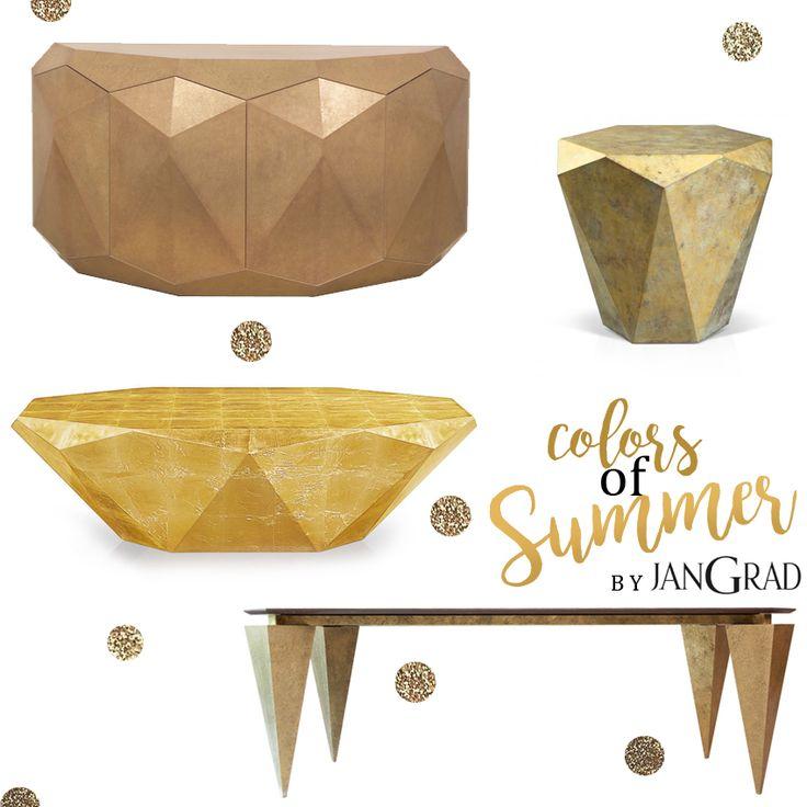 Colors of summer by JanGrad. Gold, golden, furniture designed by JanGrad. Stealth design for Bretz, Piryt Table, Commode AllCut. jangrad.com