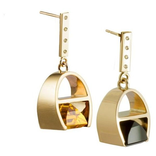 9 Karat Yellow Gold And Black Quartz And Sapphires Parabola Earrings... (84.060 RUB) ❤ liked on Polyvore featuring jewelry, earrings, chandelier earrings, yellow, yellow chandelier earrings, black gold jewelry, black and gold chandelier earrings and yellow sapphire jewelry