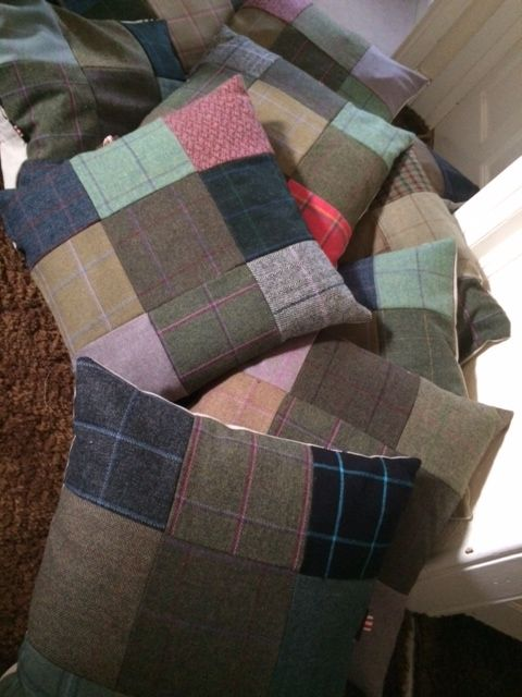 Beautiful Tweed Patchwork Cushions   http://www.timothyfoxx.co.uk/products/tweed-cushions-with-hounds-horses