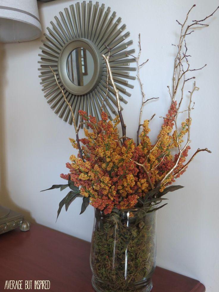 Gold leaf painted branches floral arrangement floral for Floral arrangements with branches
