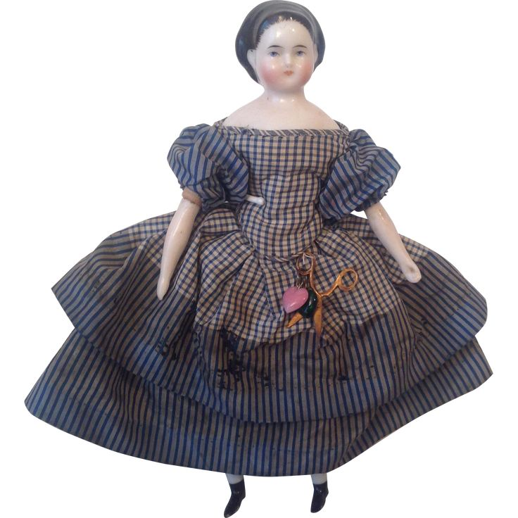 Fabulous 1860s all original China doll 7.5 inches tall.