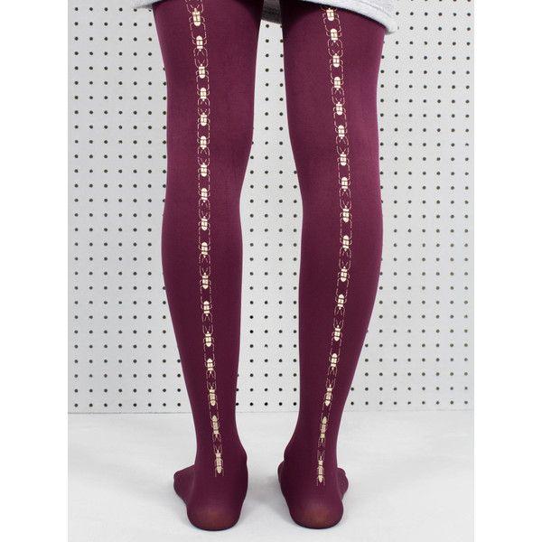 Hose Tights Plum Scarab Beetle ($22) ❤ liked on Polyvore featuring intimates, hosiery, tights, nylon hosiery, nylon pantyhose, nylon tights and nylon stockings