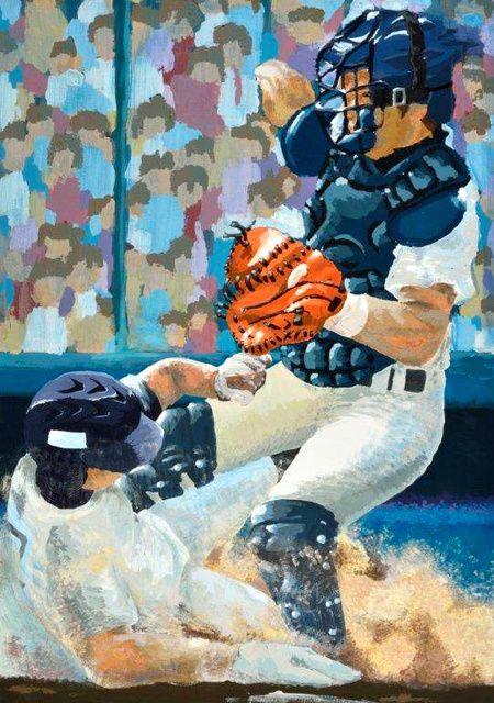今夏の第97回全国高校野球選手権大会のポスターに使う原画を、全国の高校生から募集した「高校野球ポスター甲子園(朝日新聞社主催、日本高野連後援)」のグランプリに、京都府立綾部高2年の林空樺(そらか)さんの作品が選ばれた。今年の全国大会用のポスターに使われる。