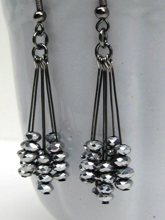 Black+Dangle+Earrings+Silver+Sparkly+Earrings+by+MiaWinkJewelry,+$12.00