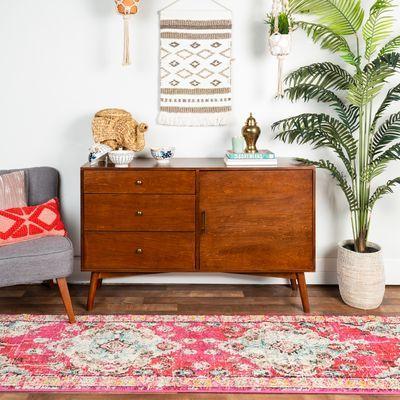 Mid-Century Modern Walnut Wood TV Console Table
