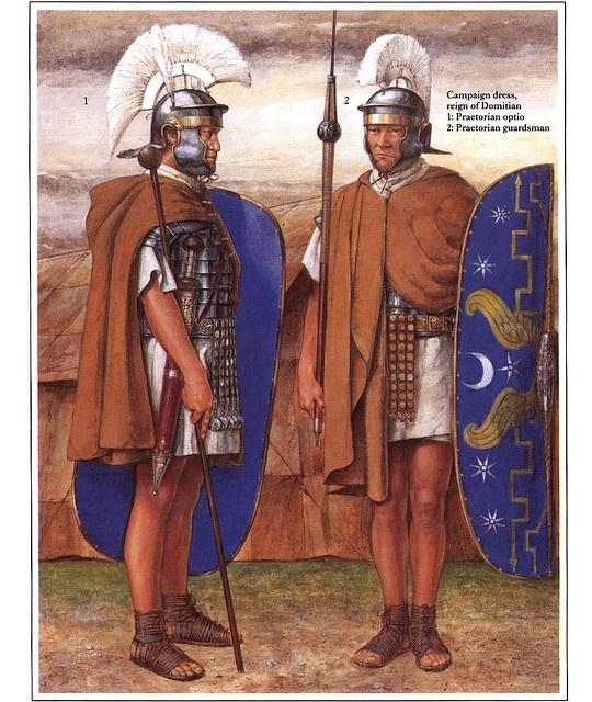 Campaign attire during the reign of Domitian. (L) Praetorian optio, (R) Praetorian guardsman by Richard Hook