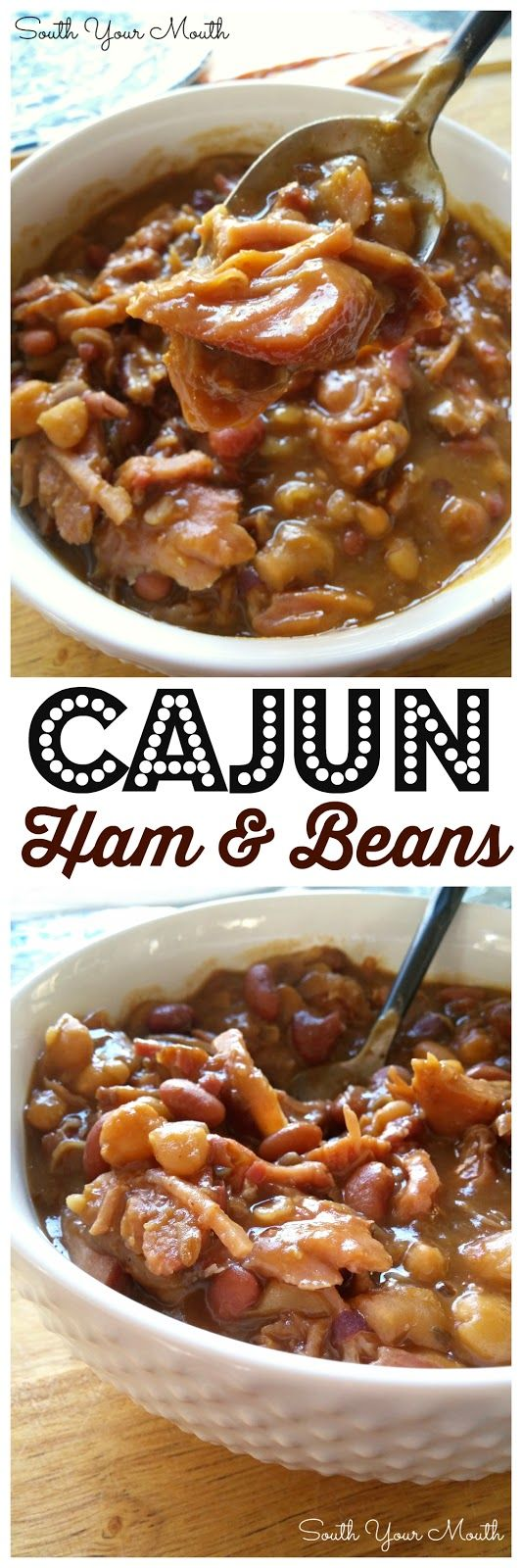 Cajun Ham & Beans! Dried beans cooked low and slow with a ham bone and Cajun seasonings. DELICIOUS over rice!