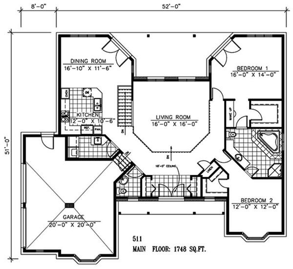 Retirement house plan 1 story 2 bedrooms open floor for Small retirement house plans