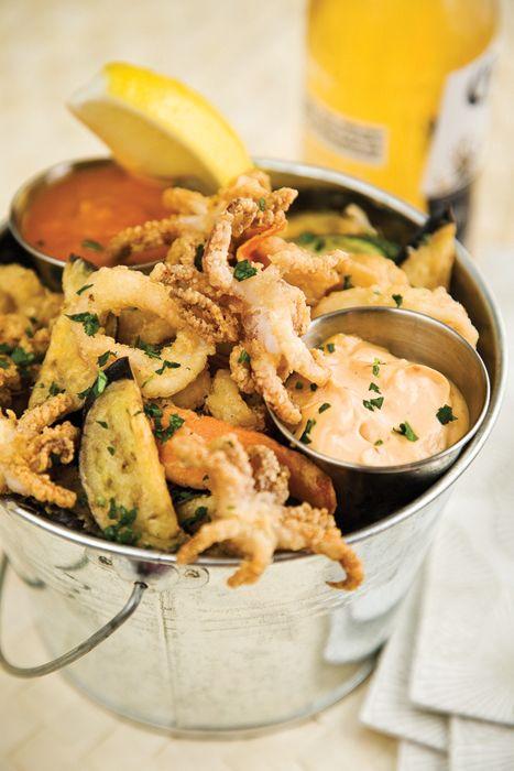 Spicy fried calamari at brothers restaurant at the red for Food at bar 38
