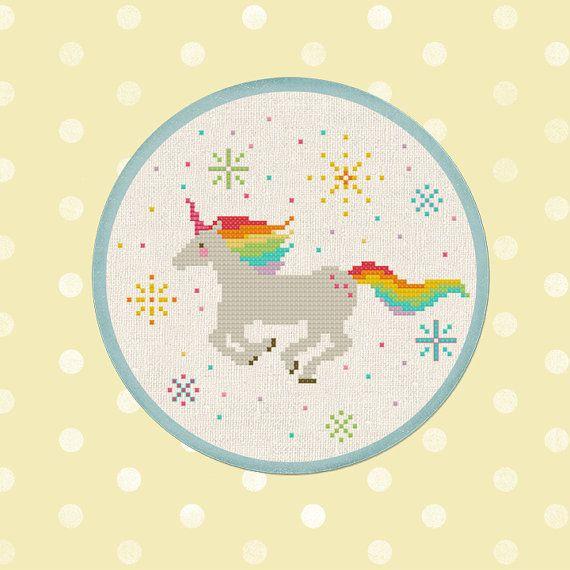 Rainbow Unicorn. Cross Stitch Pattern PDF File