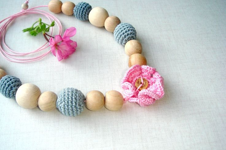Flower nursing necklace Teething bead  from MiracleFromThreads  by DaWanda.com