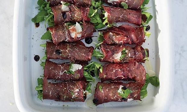bresaola rolls with arugula and prosciutto grilled peach basil roll