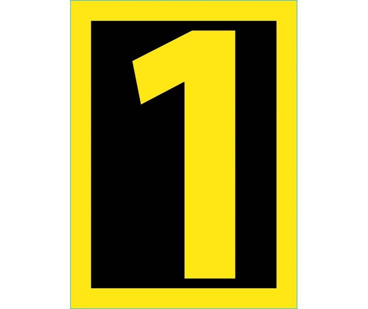 Number, 1, 1.5 HIGH VISIBILITY YELLOW BLACK, PS Vinyl