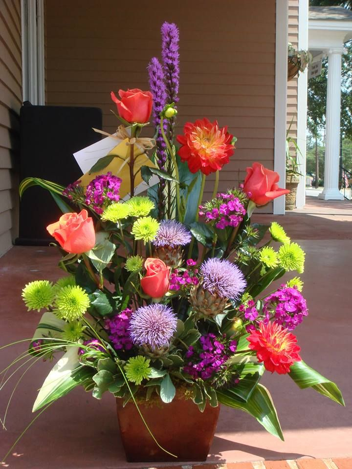 Sympathy arrangement......Roses chrysanthemum liatris