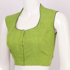 Handcrafted Green Cotton Blouse With Sleeveless & Collar Neck 10013283 - Size 36 - profile - AVISHYA.COM