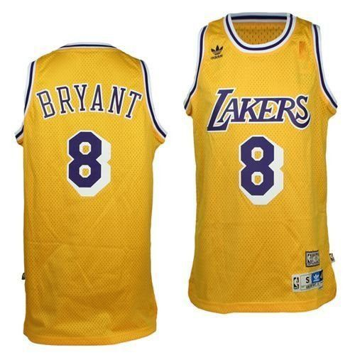 Mens Los Angeles Lakers Kobe Bryant 1996-1997 Adidas Gold Hardwood Classics Swingman Jersey