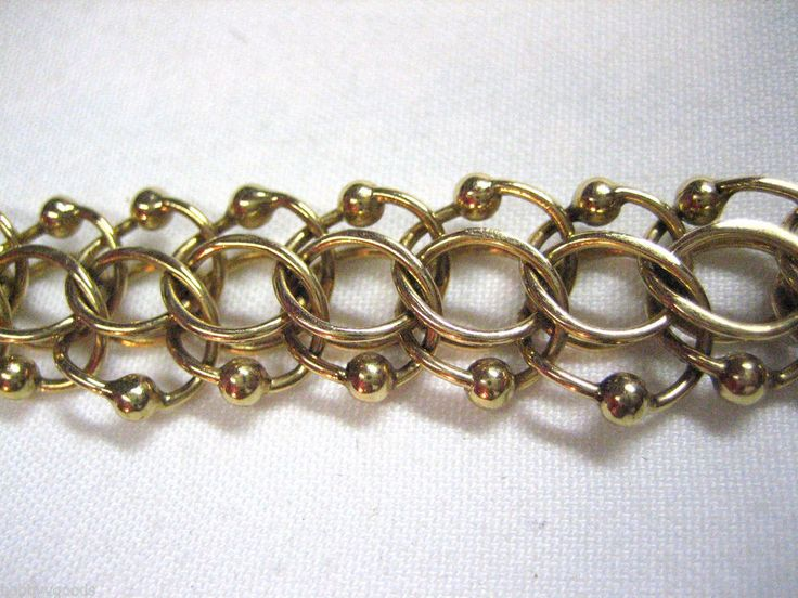 "VINTAGE 14K YELLOW GOLD HEAVY WIDE DOUBLE LINK & BEAD 7 1/4"" CHAIN BRACELET # 17"