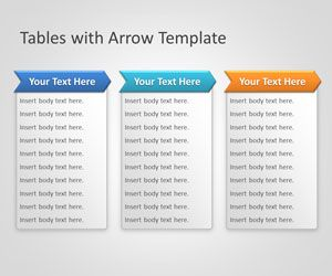 simple table with arrows for powerpoint presentations with unique