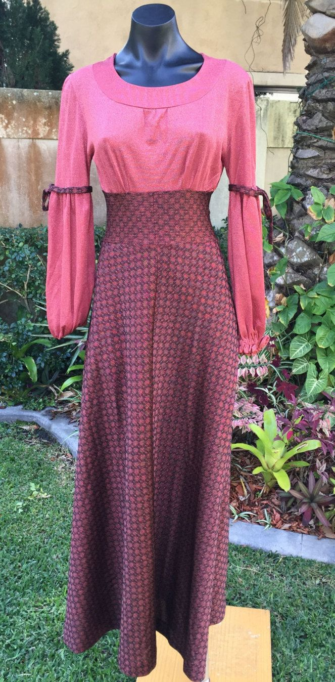 Vintage Italian Susy Creazioni 60's long stretch empire line Boho, festival dress. Size 6-8  FREE FREIGHT WORLDWIDE by PippiLime on Etsy