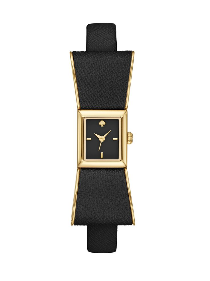 Kate spade Kenmare Goldtone Stainless Steel & Saffiano Leather Bow Strap Watch/Black in Gold (black-gold)