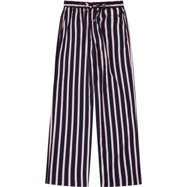 Elastic Waist Striped Wide Leg Pants (7.212 BHD) ❤ liked on Polyvore featuring pants, elastic waist trousers, stretch waistband pants, elastic waist pants, elasticated waist trousers and striped pants