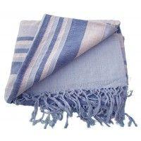Tenture Kérala plaid couvre-lit Bleu clair et foncé petites bandes