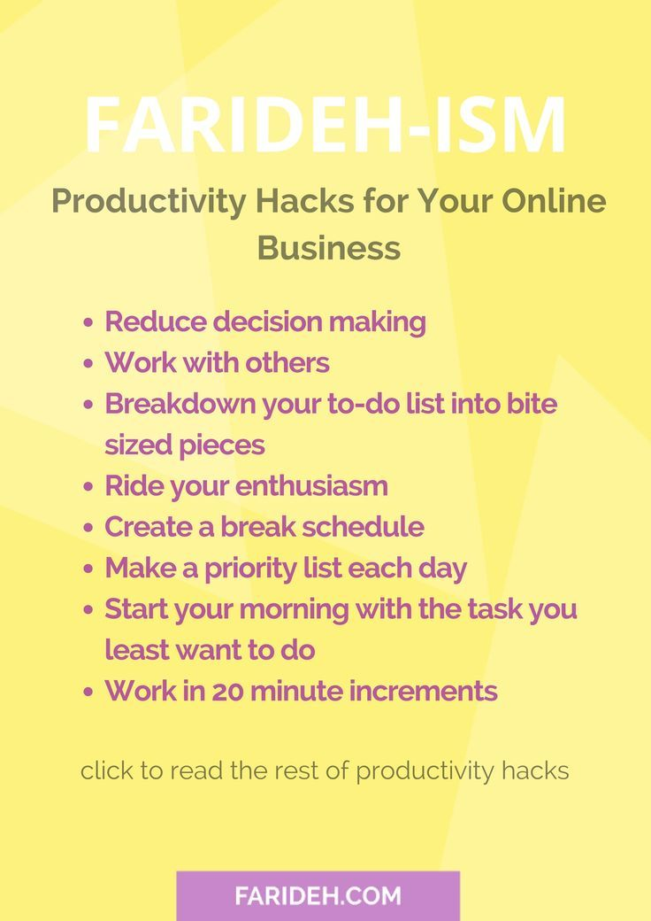 Hey there I'm Farideh from http://Farideh.com! I'm a musician, I run an online business and I'm also a mother to a 15 month old.  So I wanted to share with you some productivity hacks that you can use to run your business.