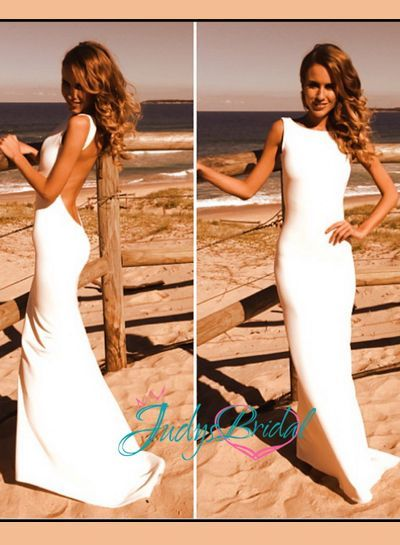 JDP017 Simple sheath backless dress. This would also b cute in your wedding color as a bridesmaids dress
