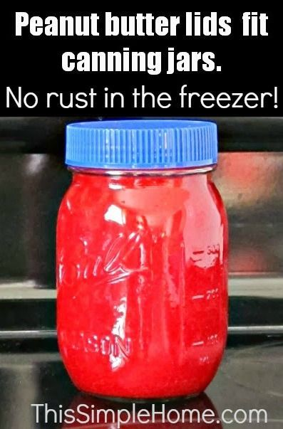 Canning Jar Lid Alternative ~ Did you know that you can also use a lid from a peanut butter jar on a canning jar? Not only are the plastic lids good for the freezer, but they are easier to use in the refrigerator than the metal rings and lids