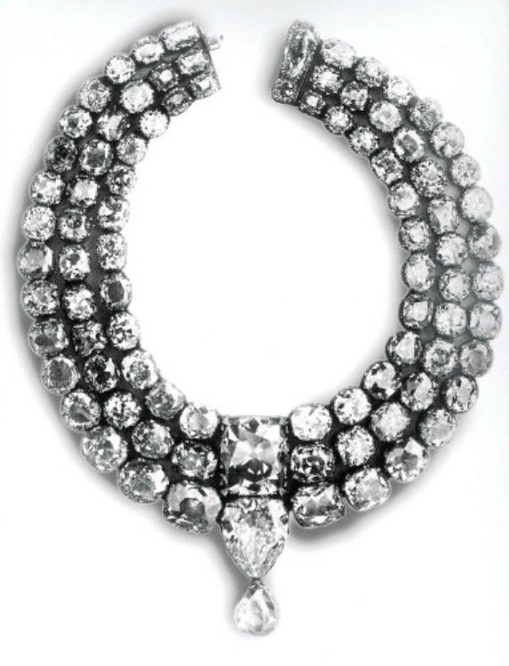 Three-tiered Baroda Diamond Necklace, incorporating the Star of the South diamond and the English Dresden diamond