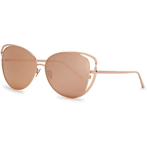 Linda Farrow Luxe Rose Gold-plated Cat-eye Sunglasses ($1,190) ❤ liked on Polyvore featuring accessories, eyewear, sunglasses, linda farrow sunglasses, linda farrow, mirror glasses, linda farrow eyewear and brown lens sunglasses