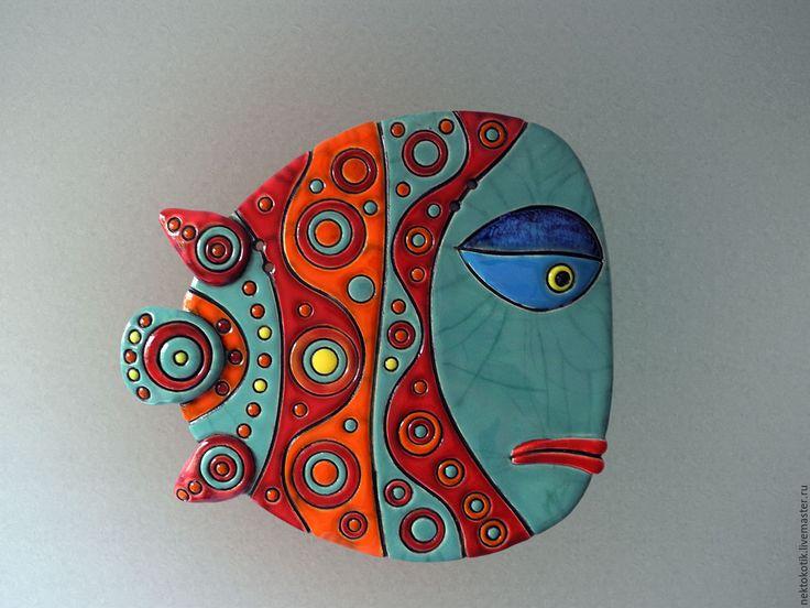 Керамическое панно «Рыба» - Керамика, рыба, веселая, кракле, глина, шамот, глазурь