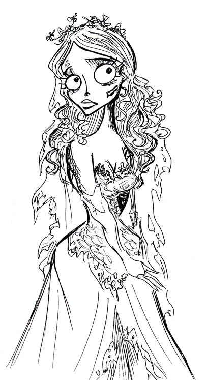 Corpse Bride Coloring Pages Request as print | monster | Coloring