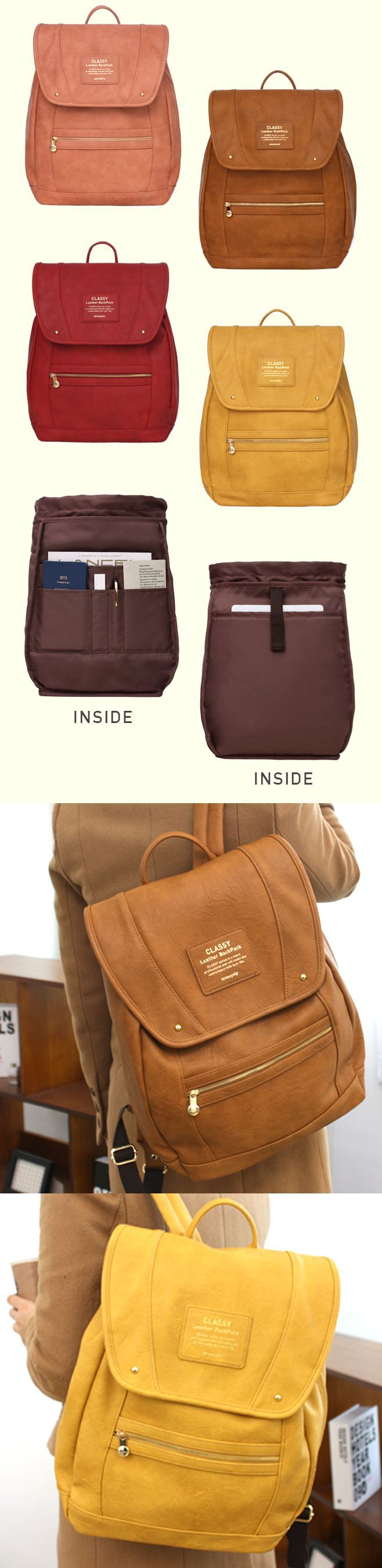 "So nice! This stylish leather backpack has a built-in cushioned 13"" laptop pocket…no need for a laptop case! The perfect backpack for class, with 8 additional pockets for organizing all your school supplies. Rain-resistant coating on the outside makes this the best bag for all weather, too! Comes in 4 different super cute colors <3"
