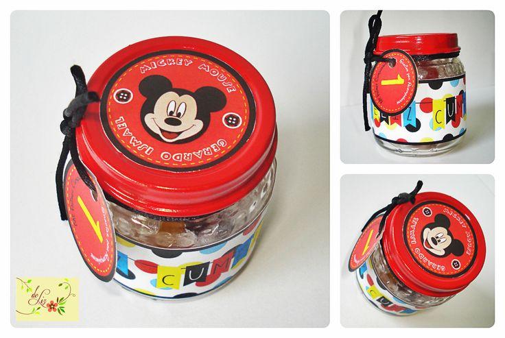 Suvenirs/Bolos/Recuerdos elaborados con frasco de Gerber en motivos de Mickey Mouse