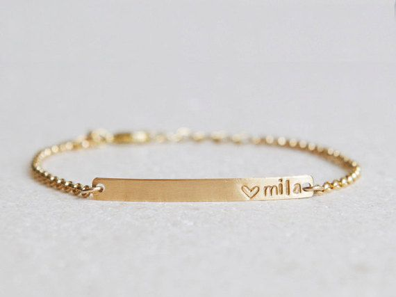 Nameplate Bracelet/ Skinny Bar Bracelet/ Personalized Jewelry /Initials/Gold bracelet/Sterling Silver/Wedding Gift/Bridesmaid Gift /B155G