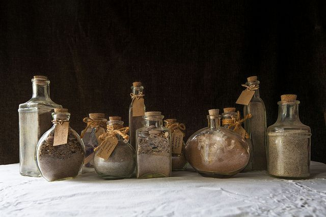 Bottles of sand collected from visited beaches with handwritten labels!     Photography by Glenn Suttenfield    Sand Bottles-1 by g_suttenfield, via Flickr