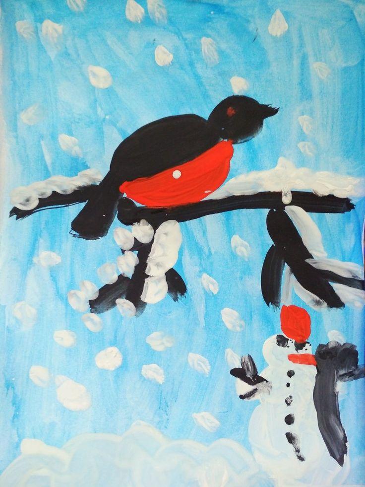 Снегирь. Рисунок. Гуашь.