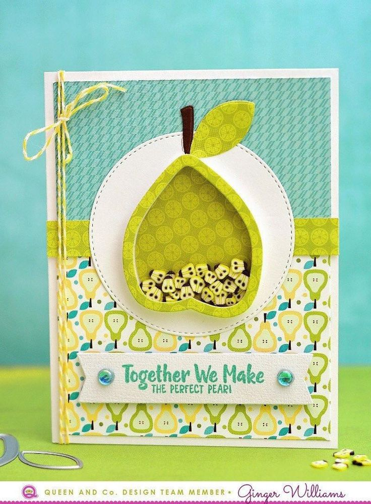 How to make an easy and adorable shaker card? Use the Fruit Basket Kit! Pear Card, Love Card, Shaker Card. This fresh and fruity new kit is bursting with coordinating products to make amazing cards or scrapbook pages.