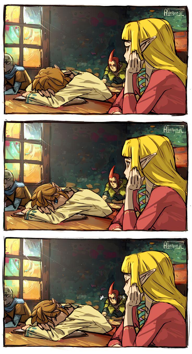 At school, Zelda and Link, The Legend of Zelda: Skyward Sword artwork by AldeRion-Al.