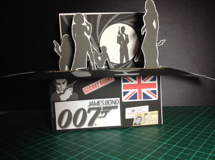 Bond.... James Bond birthday card.Printed and cut out figures, die cuts