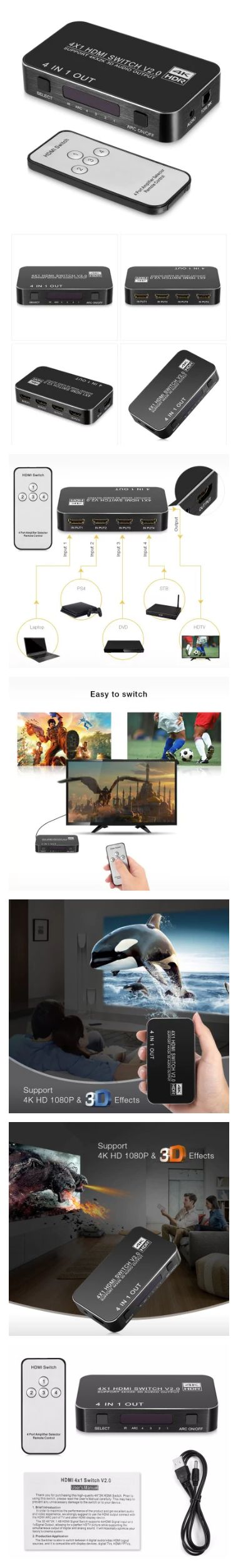 $17.49 HDMI 4 x 1 Switch Splitter Remote Control Features: - 4 x 1 design Compatible with Xbox, PS3, PS4, DVD, Blu-ray player, STB, laptop, etc. You can enjoy multiple displays of your devices on your TV screen, no need to plug in or out cord frequently, which is bad to it  - MHL / HDMI mode It supports MHL and HDMI two working modes, which means you can connect mobile phone with HDTV to have entertainment, at the same time, two modes are combined in one input, which can effectively reduce