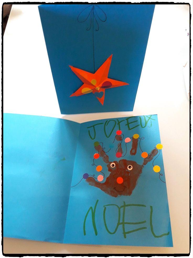 carte de voeux noel, renne empreinte de main, bricolage noel enfant, carte étoile 3d