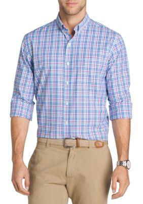 Izod Men's Long Sleeve Plaid Shirt - Powder Blue - 2Xl