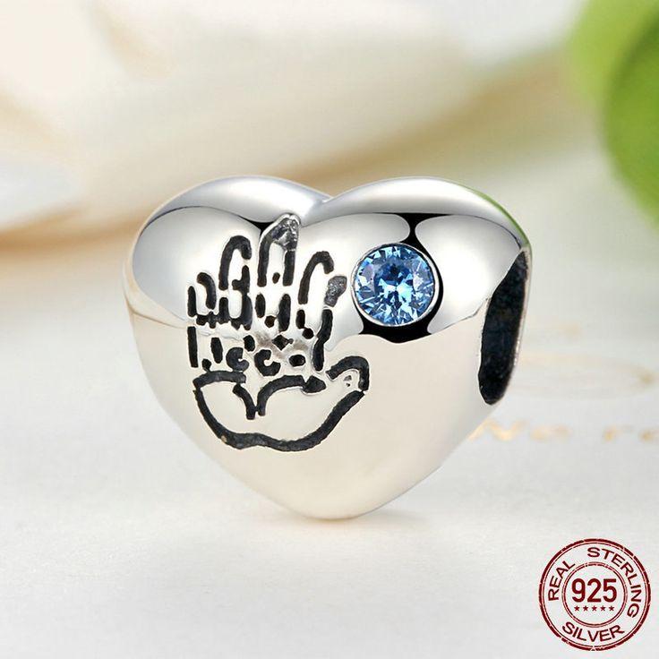 Orma di Mano di Bambino Charm con Zirconi Azzurri 100% argento 925 adatta misure Pandora charm Pandora bead e Braccialetto europeo S077 di OceanBijoux su Etsy