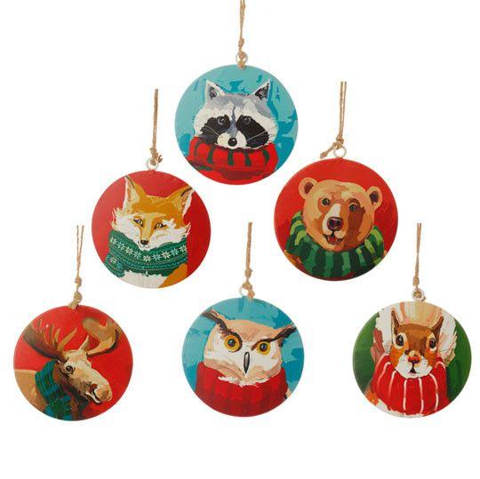 Raz quot metal animal disk ornament set of