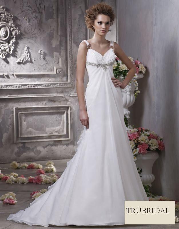 V Neck Strap Beaded Drop Waist Layered Organza Court Train Wedding Dresses